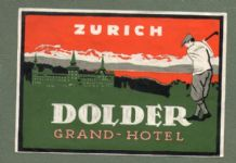 Vintage Collectable Hotel luggage label golf golfing image Switzerland